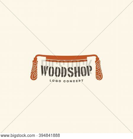 Logo Design Template With Drawknife For Wood Shop, Carpentry, Woodworkers, Wood Working Industry. Ve