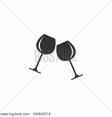 Two Glasses With Red Wine Icon. Mulled Wine Icon Flat.