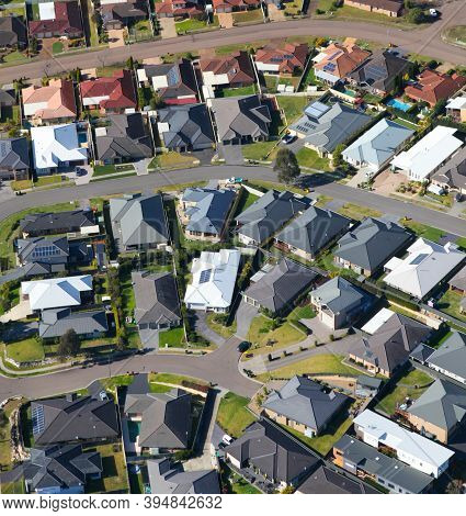 Aerial View Of Typical Modern Australian Urban Residential Area In Newcastle Nsw Australia