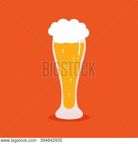 Glass Of Lager Beer In Cartoon Style Vector Illustration, Icon. International Beer Day Card.