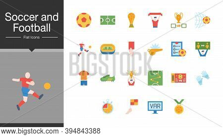 Soccer And Football Icons. Flat Design. For Presentation, Graphic Design, Mobile Application Or Ui.