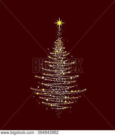 Christmas Tree With A Star On A Dark Red Background. Abstract Christmas Tree For Cards For Christmas