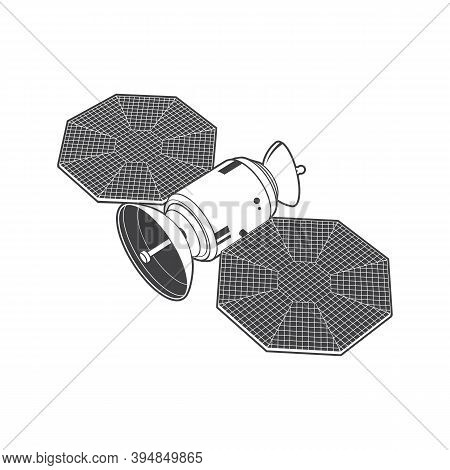 Satellite Isolated On White Background. Vector Illustration. Communications Satellite Silhouette