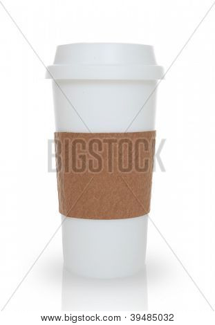 A coffee cup over a white background