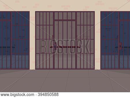 Jail Flat Color Vector Illustration. Police Department. Detention Center For Prisoner. Punishment Fo