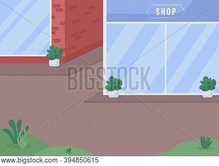 Street Shops Flat Color Vector Illustration. Store With Window Display. Sidewalk Near Building. Urba