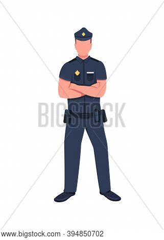 Police Officer Flat Color Vector Faceless Character. Legal Enforcement. Security Guard. Cop In Unifo