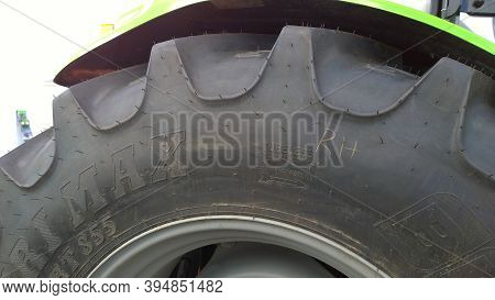 St. Petersburg, Russia - September 4, 2020: Bkt Agrimax Rt855 Radial Tractor Tire With Reinforced Be
