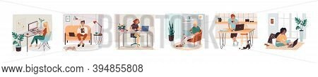 Set Of Isolated Remote Work Or Freelance Job Sign. Man And Woman Working With Tablet And Notebook, P