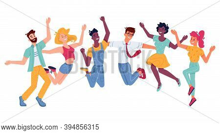 Happy People Jumping, Smiling In Joy And Fun With Hands Up, Flat Illustration. Young Girls, Boys Or