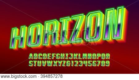 Horizon Alphabet Font. Neon Color 3d Letters And Numbers. Stock Vector Typescript For Your Typograph