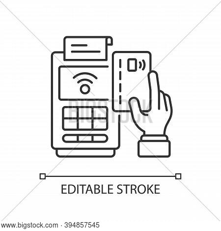 Cashless Payment Linear Icon. Paying Online. Cash From Customers. Financial Transactions. Thin Line