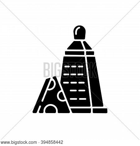 Grater Of Vegetables Black Glyph Icon. Cheese Stainless Cutter. Kitchen Utensil To Slice Cheddar. Cu