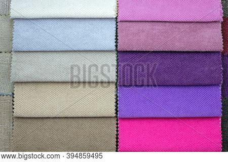 Scraps Of Colored Tissue Close Up. A Set Of Colored Samples Of Upholstery Fabric For Furniture. Cata