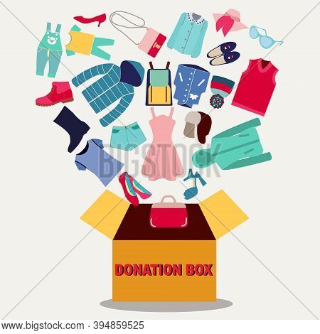 Cloth Donation Box Banner. Cardboard Box Full Of Clothes, Shoes And Accessories. Donate, Charity, Th