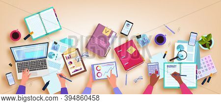 Financial Audit And Budget Planning Vector Illustration With Hands, Table Flat Lay, Laptop, Smartpho
