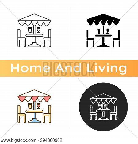 Patio Furniture And Accessories Icon. Outdoor Lounge Furniture. Patio Chairs, Umbrellas. Comfortable