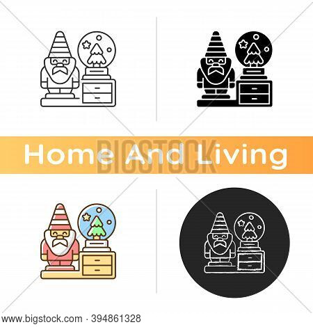 Decorative Figurines Icon. Living Room Statues. Indoor Sculptures. Gnome Statue. Christmas Snow Glob