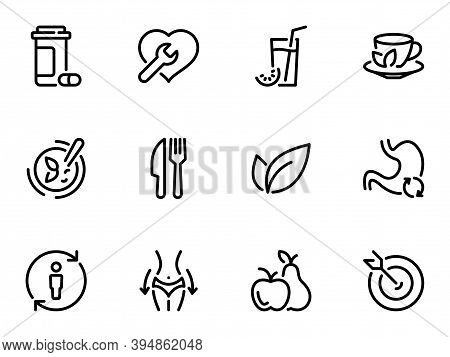 Set Of Black Vector Icons, Isolated Against White Background. Illustration On A Theme Detoxification