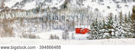 Fabulous Winter Scenery With Traditional Norwegian Wooden Houses And Pine Trees Near Valberg Village