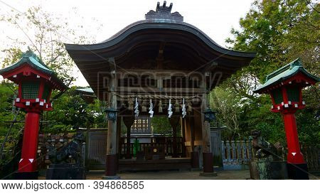 Fujisawa / Japan - Sept 10, 2019: Enoshima Okutsunomiya Shrine The Oldest Shrine Of Enoshima Jinja S