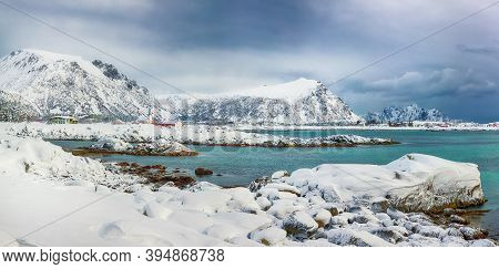 Fabulous Snowy Winter Scene Of  Valberg Village With Snowy  Mountain Peaks On Lofoten Islands.  Loca