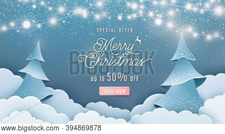 Merry Christmas Sale 50 Off Vector Background. Winter Holiday Discount Ad Banner With Light Garland,