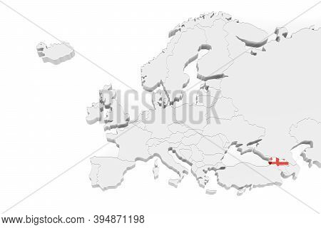 3d Europe Map With Marked Borders - Area Of Georgia Marked With Georgia Flag - Isolated On White Bac