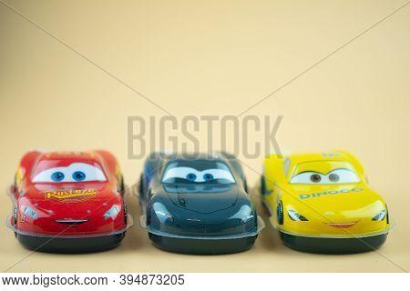 Bangkok, Thailand - November 15, 2020 :  Plastic Toy Car Of Protagonist Of The Disney Pixar Feature