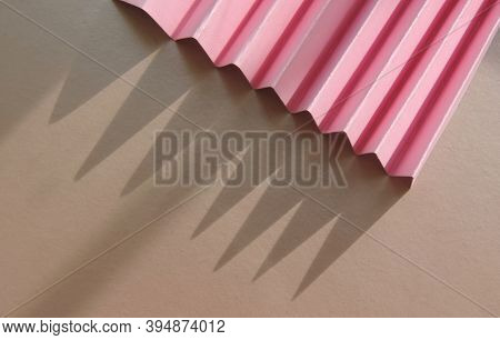 Minimalist Template With Copy Space By Top View Close Up Macro Photo   With  Corrugated Pink Paper A