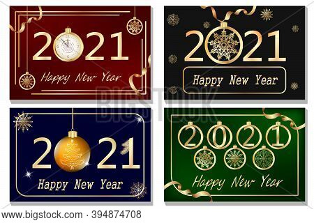 Set Of New Year's Color Illustrations.collection Of New Year's Colored Cards With Gold Decor And Tex