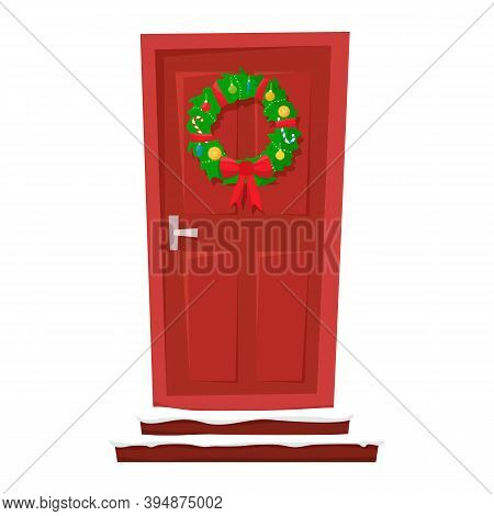 Door With A Wreath Of Christmas, Lanterns And Fir-trees On The Sides. Vector Illustration For A Post