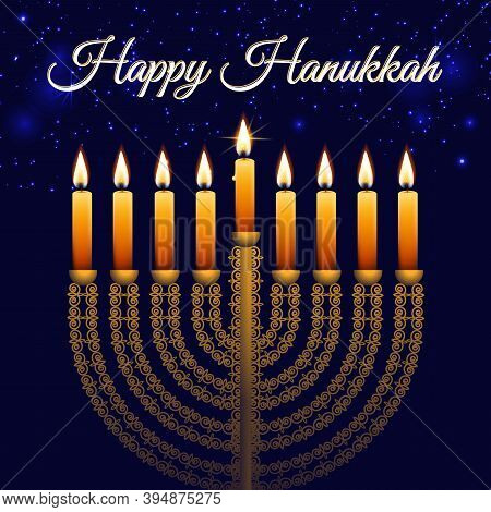Hanukkah, The Jewish Festival Of Lights, Stars In The Night Sky Bokeh Background With Golden Menorah