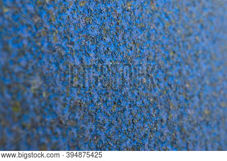 Coarse Blue And Black Background Or Wallpaper. Rough Textured Matte Surface. A Toned Shot Of Rusty I
