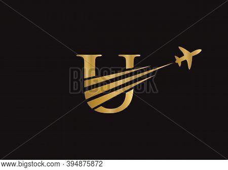 Modern Air Travel Logo Design With U Letter. Letter U Air Travel Logo Design Template. Travel Logo W