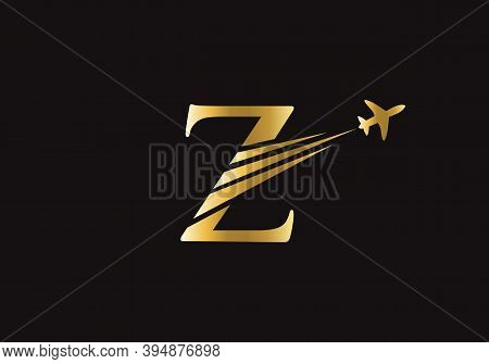 Initial Air Travel Logo Design With Z Letter. Z Letter Concept Air Plane And Travel Logo.