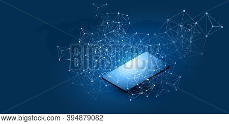 Abstract Blue Minimal Style Cloud Computing, Networks Structure, Telecommunications Concept Design,