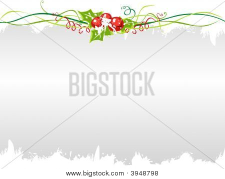 Holly Berries With Metal Background