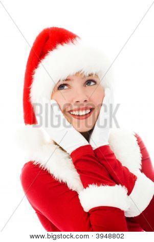 Dreamy Girl Dressed As Santa