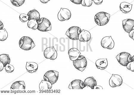 Seamless Pattern With Hazelnuts. Line Art Style.