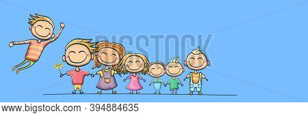 Cartoon Kids Set Isolated On Blue Horizontal Banner Background. Group Of Childrens Holding Hands. Ca