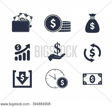 Income Icons. Trendy 9 Income Icons. Contain Icons Such As Dollar Award, Money, Coin, Money, Payment