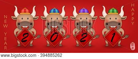 2021 Chinese New Year Of Cute Cartoon Ox Holding Spring Couplet. Chinese Translation : New Year.