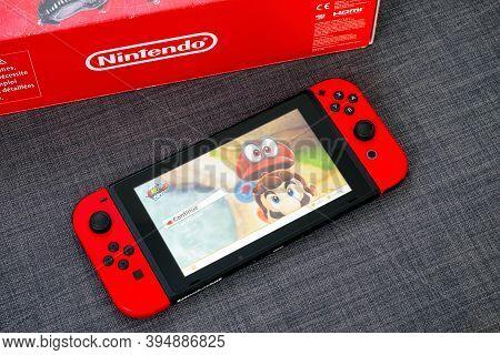 Tambov, Russian Federation - June 22, 2019 Super Mario Odyssey Video Game On Nintendo Switch Video G