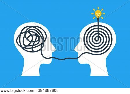 Concept Of Psychotherapy, Brainstorming And Mental Problem Solving. Vector Illustration. Brain With