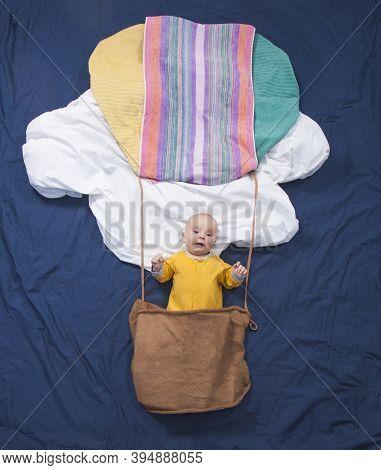 Three Month Baby Boy In A Fairy Tale. Air Balloon
