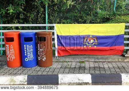 Kuala Lumpur, Malaysia - Mart 12, 2019: Colorful Litter Bins For Different Kinds Of Garbage In The C