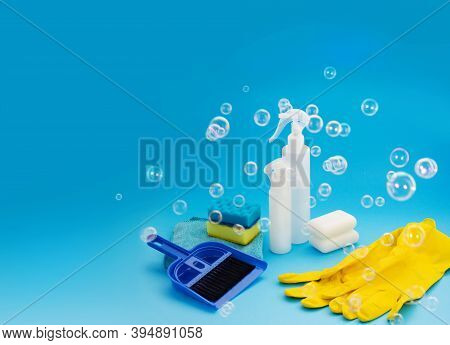 Cleaning Product For Housework. Housecleaning Chores. Household Chemicals Products. Housekeeping Equ