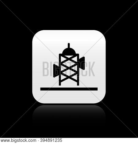 Black Antenna Icon Isolated On Black Background. Radio Antenna Wireless. Technology And Network Sign