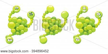 Comic Virus Isolated Green Germ Mutant, Laughing And Angry Emoticon With Many Hands Or Hands. Vector